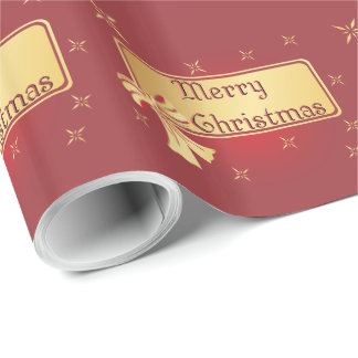 Gift Wrap - Gold On Burgundy - Merry Christmas Wrapping Paper