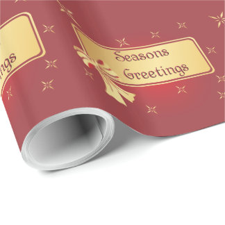 Gift Wrap - Gold On Burgundy - Seasons Greetings Wrapping Paper