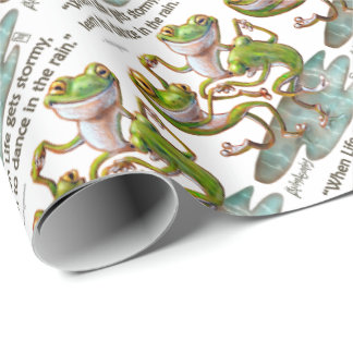Gift Wrap Paper: Frogs Dancing in Rain With Quote