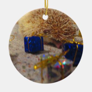 Gift Wrapping Hedgehog Funny Christmas Ornament
