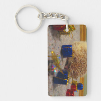 Gift Wrapping Hedgehog Funny Keychain