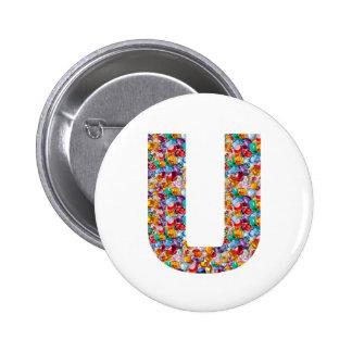 Gifts alphabet U UU name birthday girl boy kids 6 Cm Round Badge