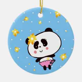 Gifts for Girls Cute Pandas Bears Personalized Christmas Ornament