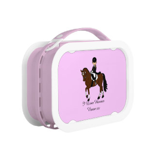 Gifts for girls - I love horses - dressage rider Lunch Box