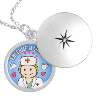 Gifts for Nurse Take care of Blond Celeste to me Round Locket Necklace