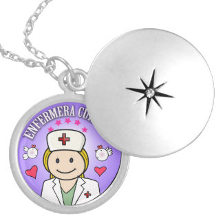 Gifts for Nurse Take care of me Blond and Lilac Round Locket Necklace