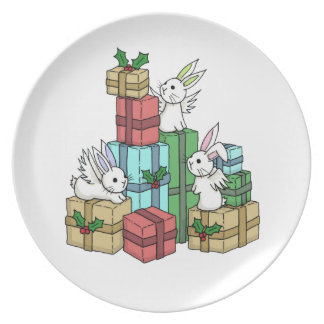 Gifts from the flutterby bunnies - Holiday plate