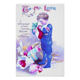 Gifts of Hearts Vintage Valentine Poster