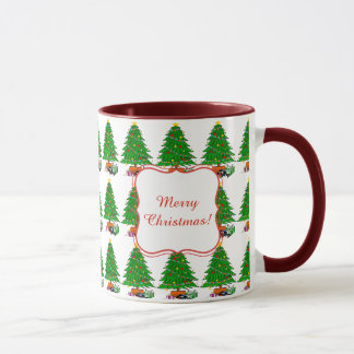 Gifts under the Christmas tree on a white backgr. Mug