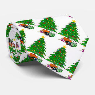 Gifts under the Christmas tree on a white backgr. Tie