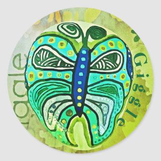 Giggle Green Butterfly fine art graphic sticker