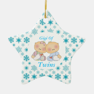 Gigi Grandma Of Twins Star Ornament Gift