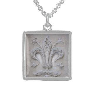 Giglio (Florentine Lily) Square Pendant Necklace