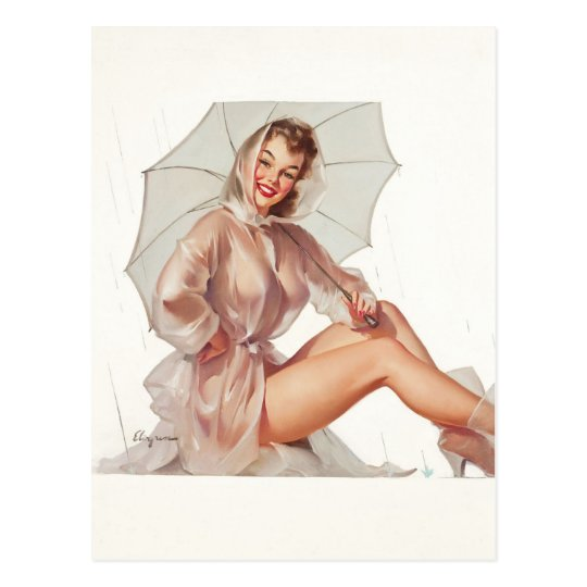 GIL ELVGREN For All Weather Pin Up Art Postcard