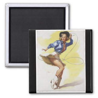 GIL ELVGREN On Her Toes, 1954 Pin Up Art Square Magnet