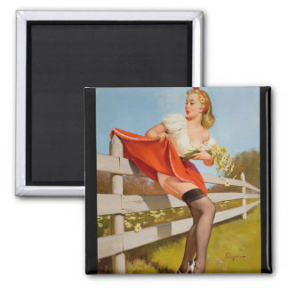 GIL ELVGREN On the Fence, 1959 Pin Up Art Square Magnet