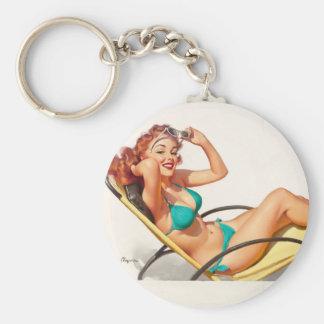 GIL ELVGREN Pin-Up in Turquoise Bikini Pin Up Art Basic Round Button Key Ring