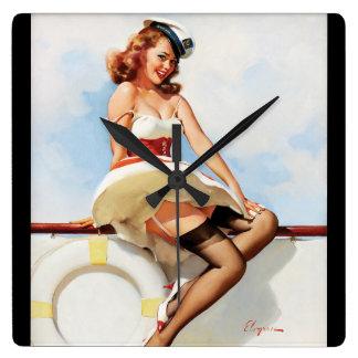 GIL ELVGREN Sailor Girl, 1970s Pin Up Art Square Wall Clock