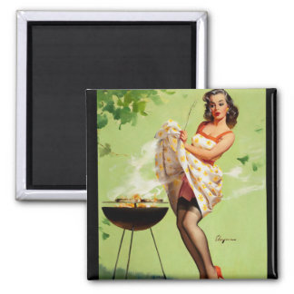 GIL ELVGREN Smoke Screen Pin Up Art Square Magnet