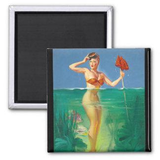 GIL ELVGREN Surprising Catch  Pin Up Art Magnet