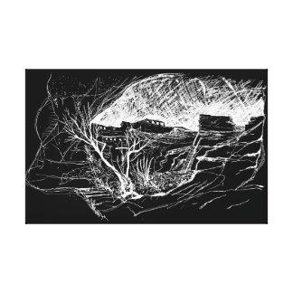 Gila Cliff Dwellings, New Mexico. Night Sky Canvas Print