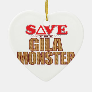 Gila Monster Save Ceramic Heart Decoration