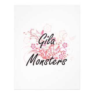 Gila Monsters with flowers background 21.5 Cm X 28 Cm Flyer