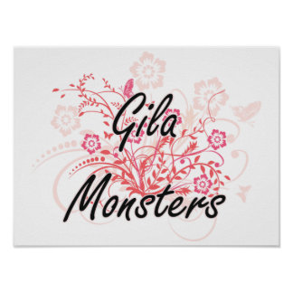 Gila Monsters with flowers background Poster