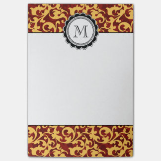 Gilded Age Baroque Damask Swirls Red and Gold Post-it Notes