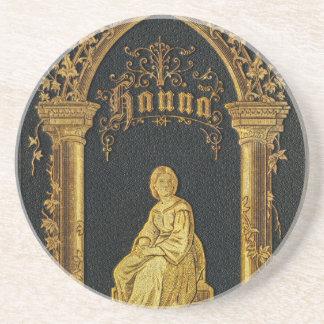 Gilded Book Cover Antique Jewish Prayer Book Hanna Beverage Coasters