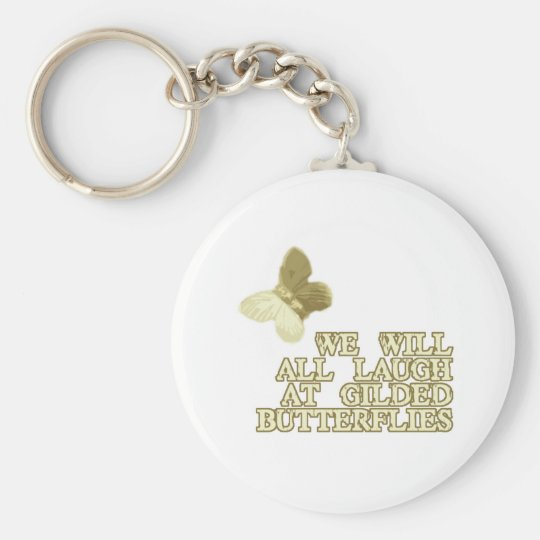 Gilded Butterflies Basic Round Button Key Ring