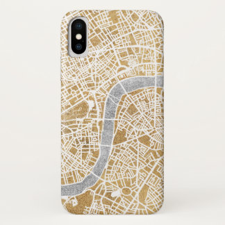 Gilded City Map Of London iPhone X Case