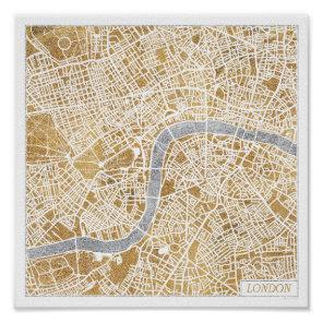 Gilded City Map Of London Poster