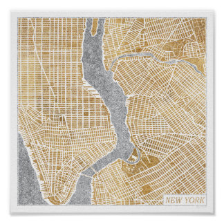 Gilded City Map Of New York Poster