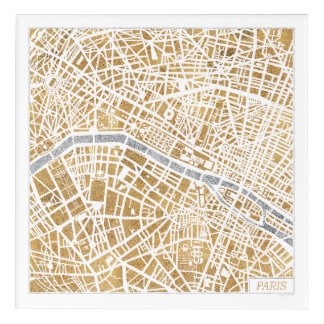 Gilded City Map Of Paris Acrylic Wall Art