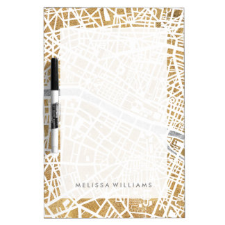 Gilded City Map Of Paris Dry Erase Boards