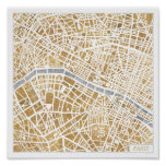 Gilded City Map Of Paris Poster