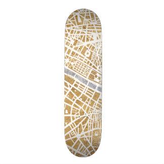 Gilded City Map Of Paris Skate Board Deck