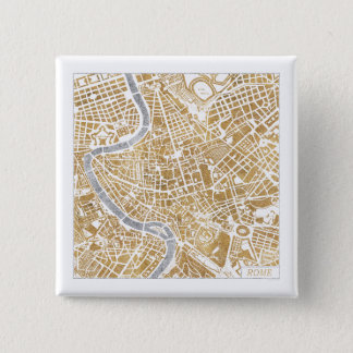 Gilded City Map Of Rome 15 Cm Square Badge
