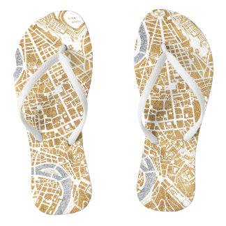 Gilded City Map Of Rome Flip Flops