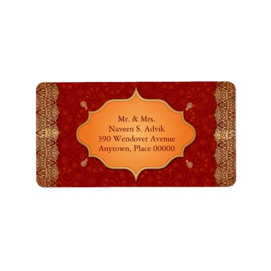 Gilded Edge Indian Frame Address Label