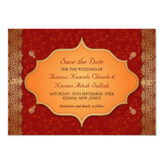 Gilded Edge Indian Frame Save the Date 11 Cm X 16 Cm Invitation Card
