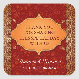 Gilded Edge Indian Frame Wedding Square Sticker