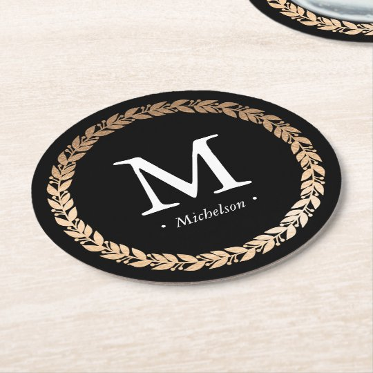 Gilded Garland Monogrammed Cocktail Round Paper Coaster