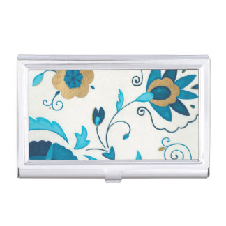 Gilded Indigo Flowers with White Background Business Card Holder
