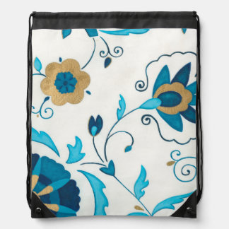 Gilded Indigo Flowers with White Background Drawstring Bag