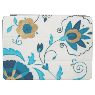 Gilded Indigo Flowers with White Background iPad Air Cover