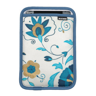 Gilded Indigo Flowers with White Background iPad Mini Sleeve