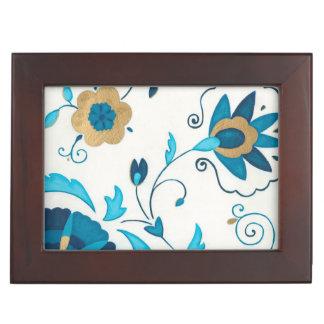 Gilded Indigo Flowers with White Background Keepsake Box