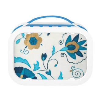 Gilded Indigo Flowers with White Background Lunch Box